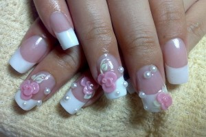 Nail , 6 Artificial Nail Designs : pink flower acrylic nail designs