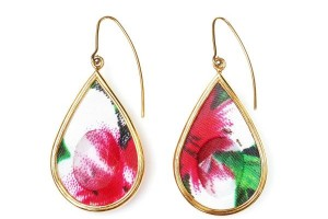 Jewelry , 6 Gold Drop Earrings : Gold drop earrings with rose and green fabric | Moran Porat Jewelry