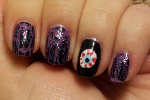 Nail , 5 Bloodshot Eyes Nail Design : purple and blood eyes nail art