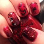 red black batty nail art , 8 Batty Nail Art Designs In Nail Category