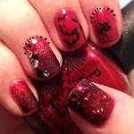 red black batty nail art , 8 Batty Nail Art Designs In Nail Category