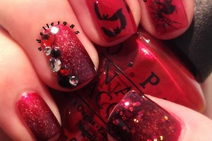 Nail , 8 Batty Nail Art Designs : red black batty nail art