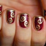 Dressed Up Nails: Shimmer Polish Karina with half-frame swirl nail art , 6 Gold Nail Polish Ideas In Nail Category