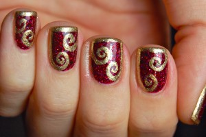 Nail , 6 Gold Nail Polish Ideas : Dressed Up Nails: Shimmer Polish Karina with half-frame swirl nail art