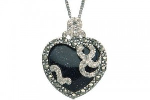 Jewelry , 7 Heart Necklaces For Women : silver marcasite heart necklace