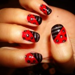 stripes and polka red black nail art , 6 Black Red Nail Design In Nail Category