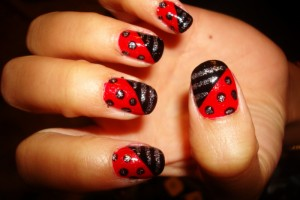 Nail , 6 Black Red Nail Design : stripes and polka red black nail art