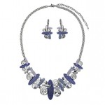 swirl necklace and earrings set , 6 Crystal Necklace And Earring Set In Jewelry Category