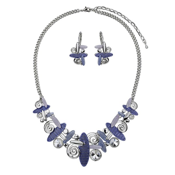 Jewelry , 6 Crystal Necklace And Earring Set : Swirl Necklace And Earrings Set