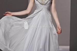 Fashion , 7 Long Vintage Prom Dresses : traditional vintage gray chiffon long formal dress