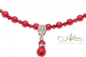Jewelry , 6  Pearl And Crystal Necklace : Red Pearl & Swarovski Crystal Necklace with Pearl Pendant - Allure