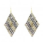 Stoneset Gold Chandelier Drop Earrings - Black Gold - Stellar , 6 Gold Drop Earrings In Jewelry Category