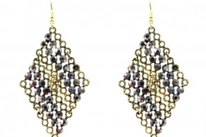 Jewelry , 6 Gold Drop Earrings : Stoneset Gold Chandelier Drop Earrings - Black Gold - Stellar