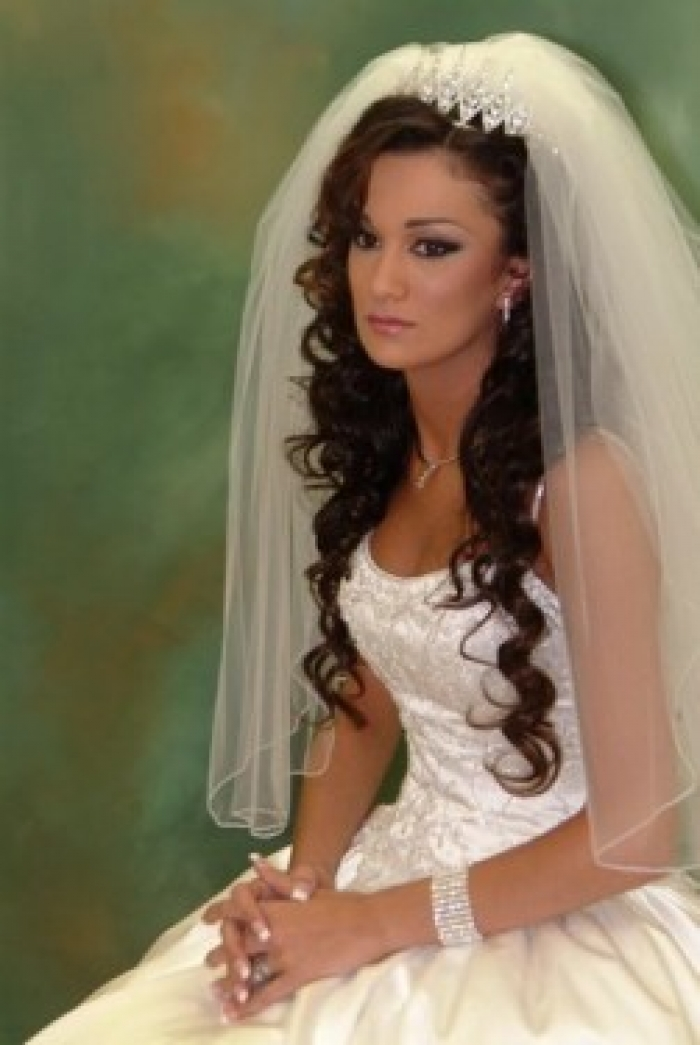 wedding hairstyles for curly hair with veil | Wedding