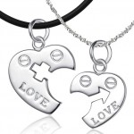 Couples Sterling Silver , 8 Lovely Two Half Heart Necklaces For Couples In Jewelry Category