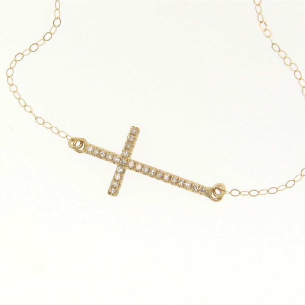 Jewelry , 8 Nice Gold Sideways Cross Necklaces For Women : Gold Diamond Sideways Cross Necklace