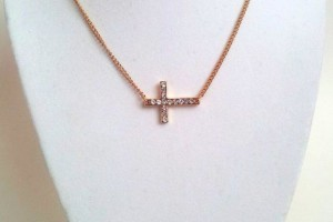 Jewelry , 8 Nice Gold Sideways Cross Necklaces For Women : Gold Sideways Cross Necklace