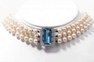 Jewelry , 8 Charming Tiffany Aquamarine Necklace : Pearl Platinum Choker