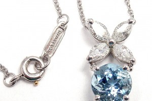Jewelry , 8 Charming Tiffany Aquamarine Necklace : Platinum Necklace