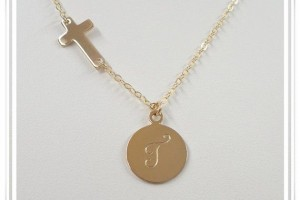 Jewelry , 8 Nice Gold Sideways Cross Necklaces For Women : Sideways Cross Initial Necklace