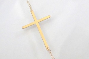 Jewelry , 8 Nice Gold Sideways Cross Necklaces For Women : Sideways Gold Cross Necklace