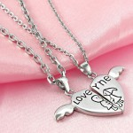 Silver Angel Wing , 8 Lovely Two Half Heart Necklaces For Couples In Jewelry Category