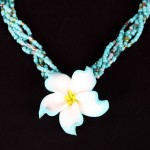 aqua clay hawaiian flower , 8 Beautiful Hawaiian Flower Necklaces In Jewelry Category
