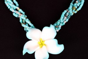 Jewelry , 8 Beautiful Hawaiian Flower Necklaces : aqua clay hawaiian flower