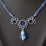 blue necklace , 9 Charming Chainmail Necklace Patterns In Jewelry Category