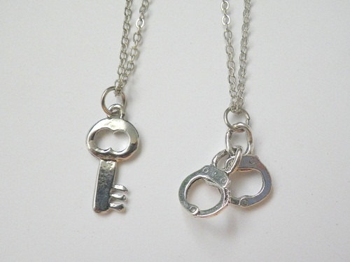 Jewelry , 7 Cool Handcuff Key Necklace : Couple Pendant Necklaces