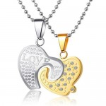 handmade jewelry , 8 Lovely Two Half Heart Necklaces For Couples In Jewelry Category