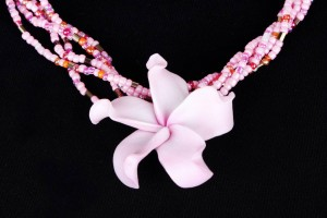 Jewelry , 8 Beautiful Hawaiian Flower Necklaces : pink pretty clay hawaiian flower