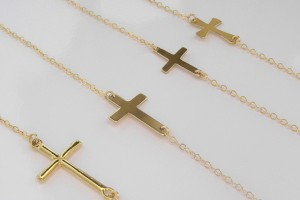 Jewelry , 8 Nice Gold Sideways Cross Necklaces For Women : sideways cross necklaces