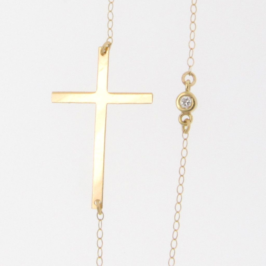Jewelry , 8 Stunning Sideways Cross Necklace Kelly Ripa : 14K Gold Kelly Ripa Sideways Cross Necklace