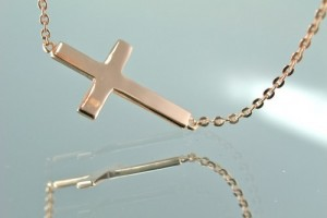 Jewelry , 8 Best 14kt Gold Sideways Cross Necklace : 14KT Rose Gold Sideways Cross Pendant