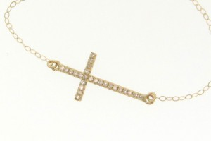 Jewelry , 8 Awesome Cross Necklaces For Women Sideways : 14k Gold Diamond Sideways Cross Necklace