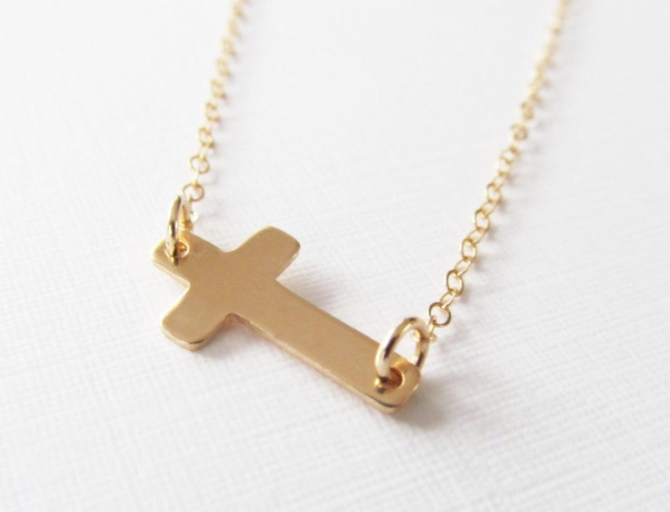 8 Best 14kt Gold Sideways Cross Necklace in Jewelry