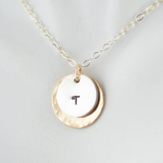 Jewelry , 8 Charming 14kt Gold Initial Necklace : 14kt Gold Hammered Disc Necklace