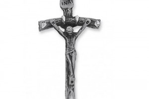 Jewelry , 8 Good Papal Crucifix Necklace : Antique Silver Pendant