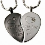 Black Tone Split Heart Pendant Set , 8 Fabulous Split Heart Necklaces For Couples In Jewelry Category
