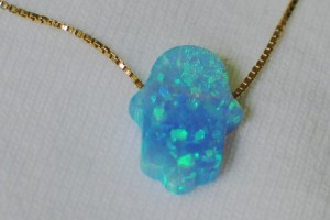 640x480px 7 Excellent Blue Opal Hamsa Necklace Picture in Jewelry