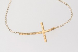 Jewelry , 8 Fabulous Sideways Gold Cross Necklaces For Women : CURVED Sideways Cross Necklace