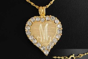 Jewelry , 8 Charming 14kt Gold Initial Necklace : Crystal Heart Pendant Necklace