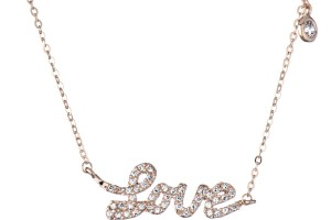 Jewelry , 8 Gorgeous Cursive Love Necklace : Cursive Love Charm Necklace