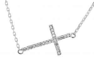 Jewelry , 7 Gorgeous Horizontal Cross Necklaces : Diamond Horizontal Cross Necklace