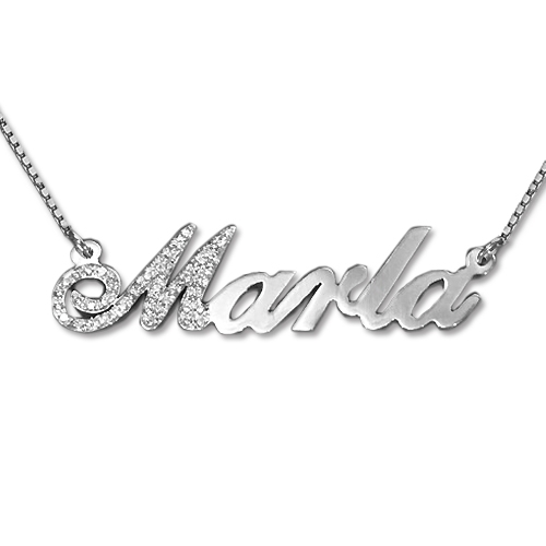 Jewelry , 8 Fabulous White Gold Nameplate Necklace : Diamond Letter