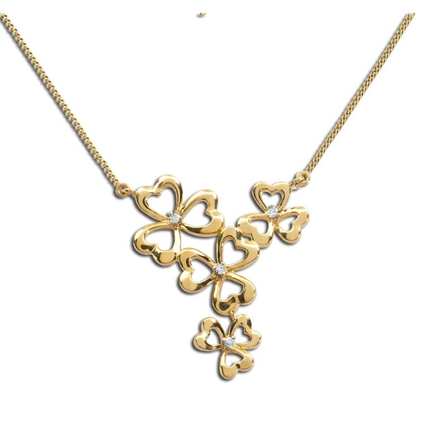 8 Charming Diamond Shamrock Necklace in Jewelry