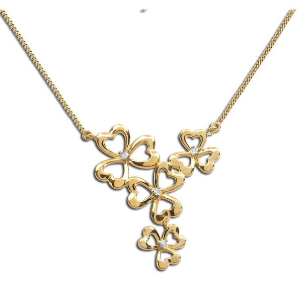 8 Charming Diamond Shamrock Necklace in Jewelry