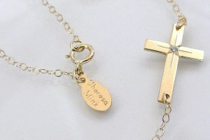 Jewelry , 7 Good 14k Gold Horizontal Cross Necklace : Diamond Sideways Cross Necklace