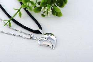 Jewelry , 8 Fabulous Split Heart Necklaces For Couples : Diamond Split Heart Pendant